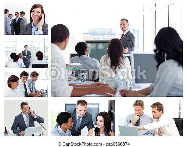Collage de gente de negocios usando tecnología - csp6566874