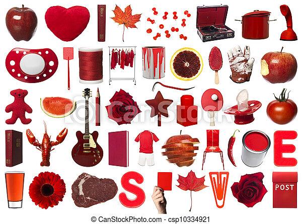 Collage de objetos rojos - csp10334921