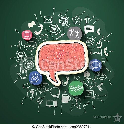 Collage de redes sociales con iconos en la pizarra - csp23627314