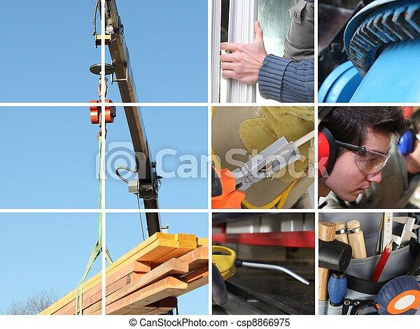 Collage de una construcción y materiales de construcción - csp8866975