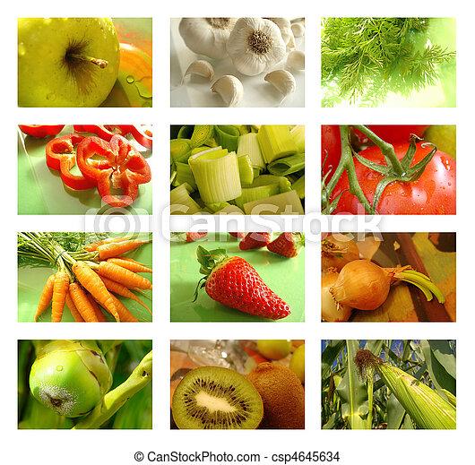 El collage de nutrición de comida sana - csp4645634
