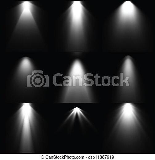 Colocar fuentes de luz blanca y negras. Vector - csp11387919