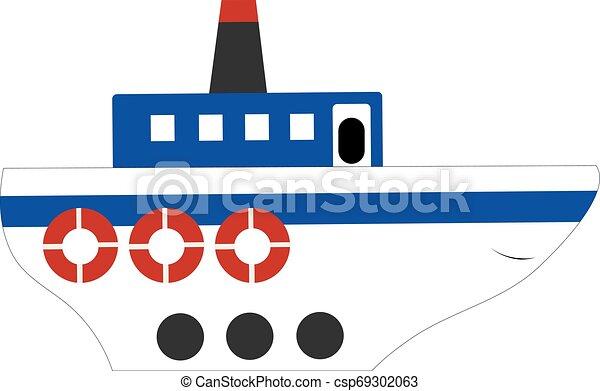 Una gran nave, vector o ilustración de colores - csp69302063