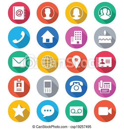 Contacta con iconos de color plano - csp19257495