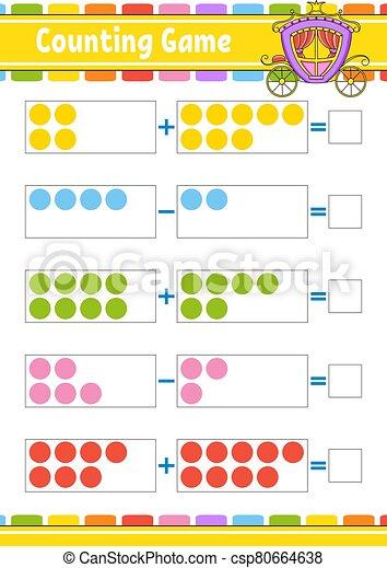 color, worksheet., revelado, children., subtraction., aislado, vector, caricatura, actividad, tarea, kids., juego, illustration., divertido, educación, page., style., adición, character. - csp80664638