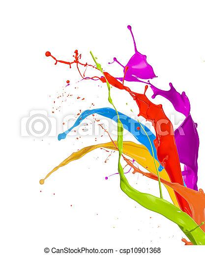 La pintura de color salpica aislada en el fondo blanco - csp10901368