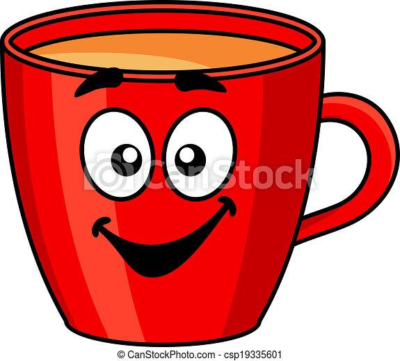 Colorida taza roja de café - csp19335601