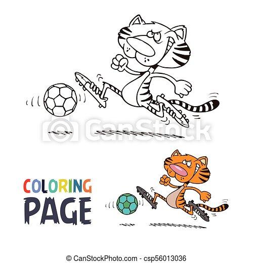 Tiger juega al fútbol de dibujos animados - csp56013036