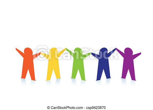 Abstracta gente de papel colorida aislada en blanco - csp9423870