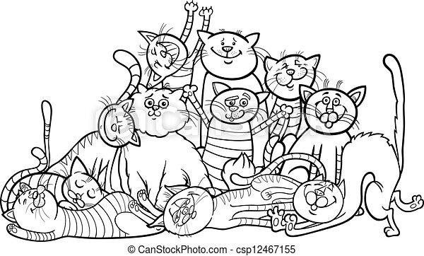 Diarios del grupo de gatos felices para el libro de color - csp12467155