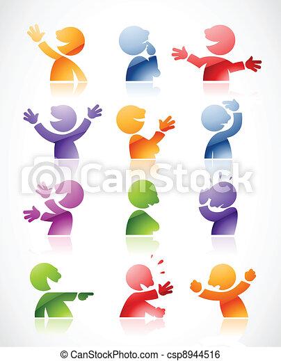Coloridos personajes parlantes - csp8944516