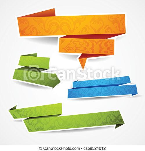 Coloridos y condecorados estandartes de papel para su texto - csp9524012