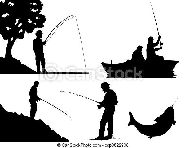 Siluetas de pescadores de color negro. Una ilustración del vector - csp3822906