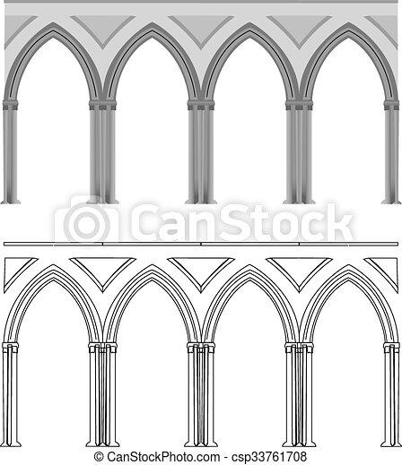 Arco gótico y columna - csp33761708