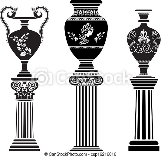 Un jarrón griego antiguo en la columna - csp16216016