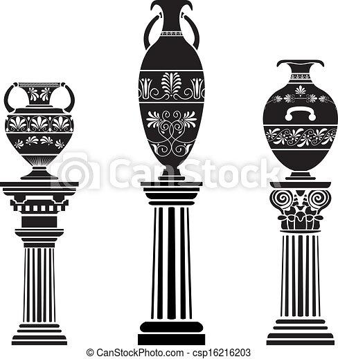 Un jarrón griego antiguo en la columna - csp16216203