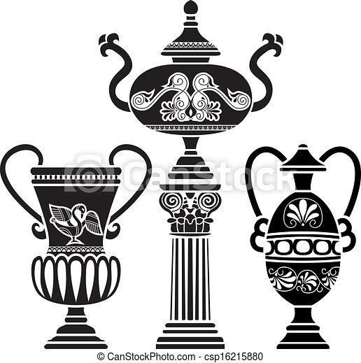 Un jarrón griego antiguo en la columna - csp16215880