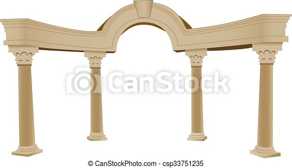 Arco griego 3D y columna - csp33751235