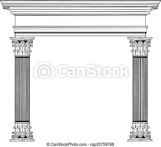 Columna griega y arco - csp33759768