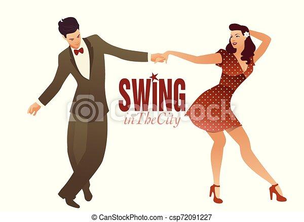 Jóvenes parejas bailando swing, lindy hop o rock and roll - csp72091227