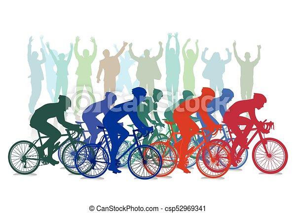 Competencia de carreras de bicicletas con espectadores, ilustración - csp52969341