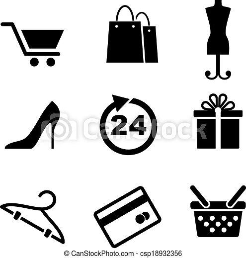 Ventas y iconos de compras - csp18932356