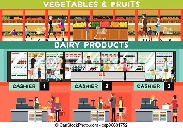 Gente comprando en una tienda de comestibles - csp36631752