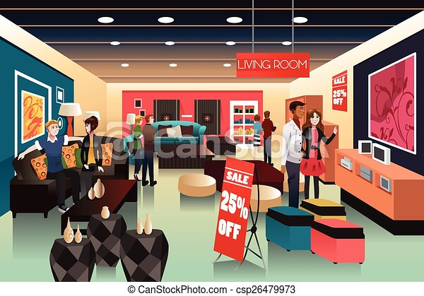 Gente comprando en una tienda de muebles - csp26479973