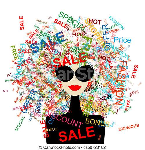 ¡Me encanta la venta! Mujer de moda con concepto de compra para tu diseño - csp8723182