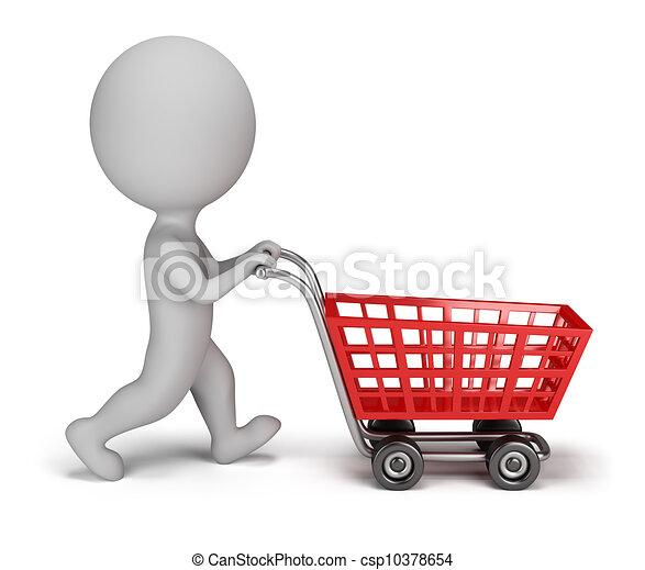 3 personas pequeñas - carrito de compras - csp10378654