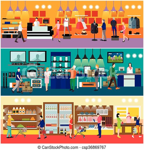La gente compra en un concepto de centro comercial. El interior de la tienda de electrónica. Ilustración vectorial colorida. - csp36869767