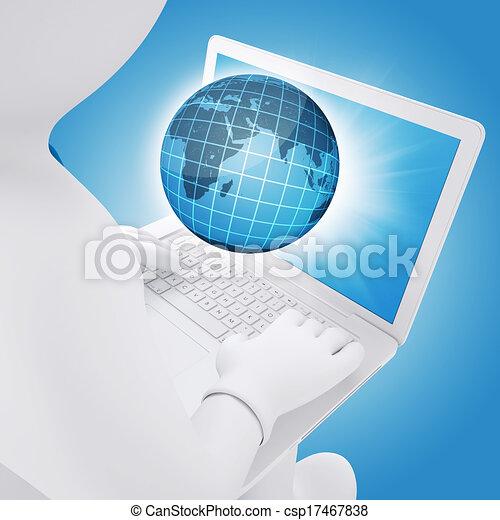 Hombre blanco sentado con un portátil - csp17467838