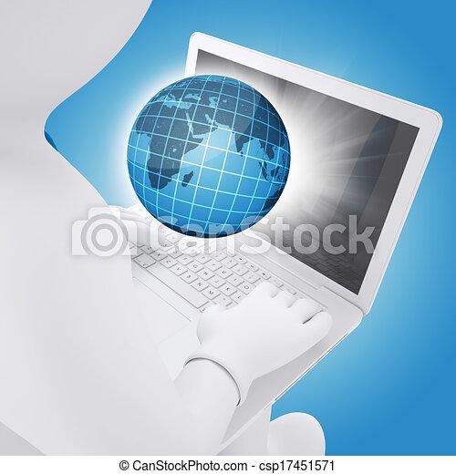 Hombre blanco sentado con un portátil - csp17451571