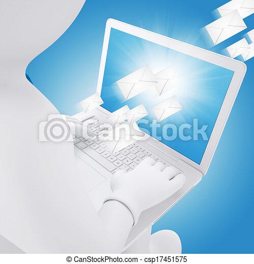Hombre blanco sentado con un portátil - csp17451575