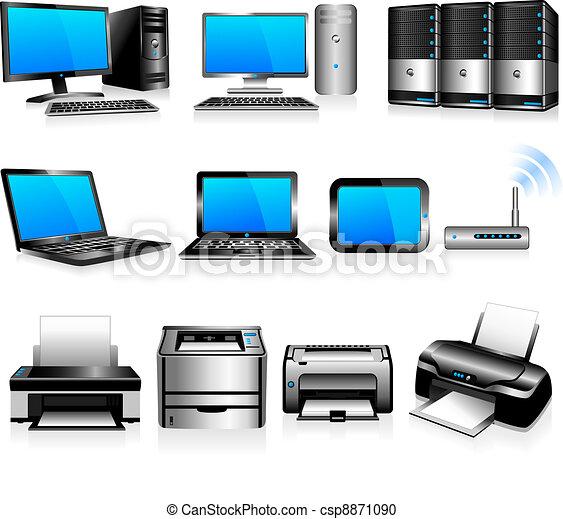 Computadoras, tecnología de impresoras - csp8871090