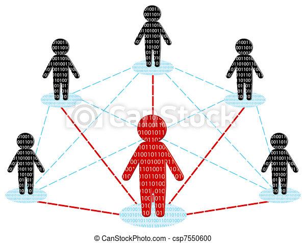 Comunicación de red. El concepto del equipo de negocios. Ilustración del vector - csp7550600
