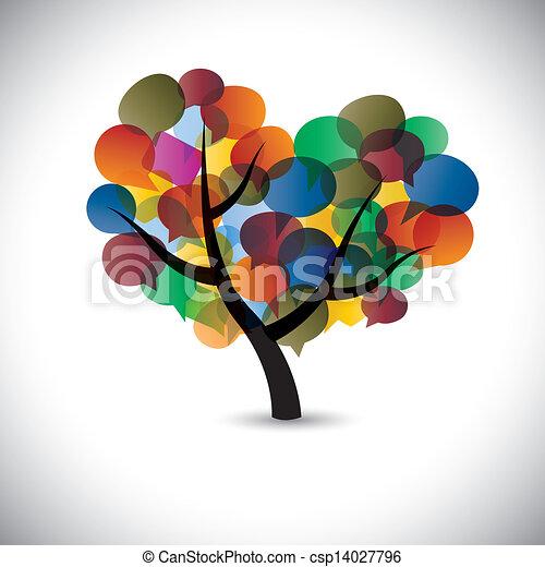 Coloridos íconos de chat de árboles, símbolos de burbujas de habla, vector gráfico. Esta ilustración representa la comunicación social de los medios de comunicación o chats en línea y diálogos, debates, etc - csp14027796