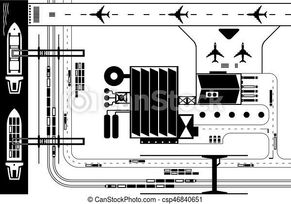 Comunicación industrial desde arriba - csp46840651