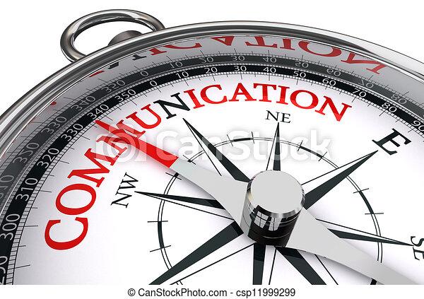 Comunicación roja sobre brújula conceptual - csp11999299