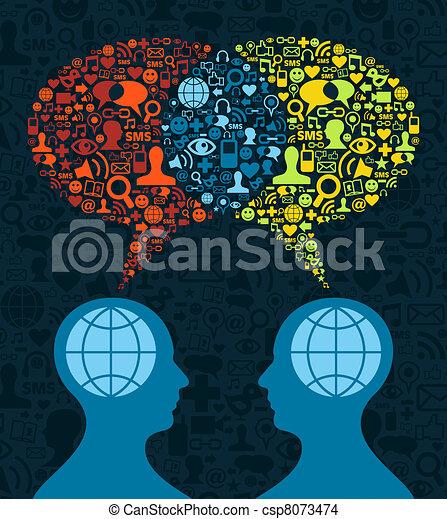 Comunicación cerebral de los medios sociales - csp8073474