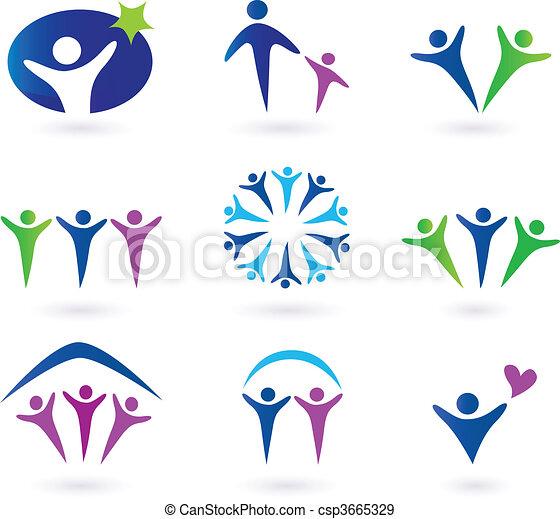 Comunidad, red y iconos sociales - csp3665329