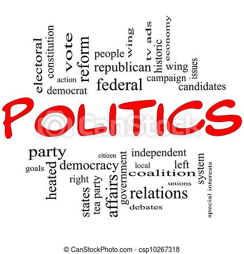 La política de la palabra nube de concepto en letras rojas - csp10267318