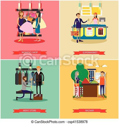 La gente compra en los carteles de concepto de tienda. Ilustración vectorial colorida. - csp41538978