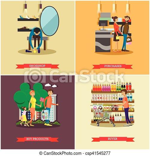La gente compra en los carteles de concepto de tienda. Ilustración vectorial colorida. - csp41545277