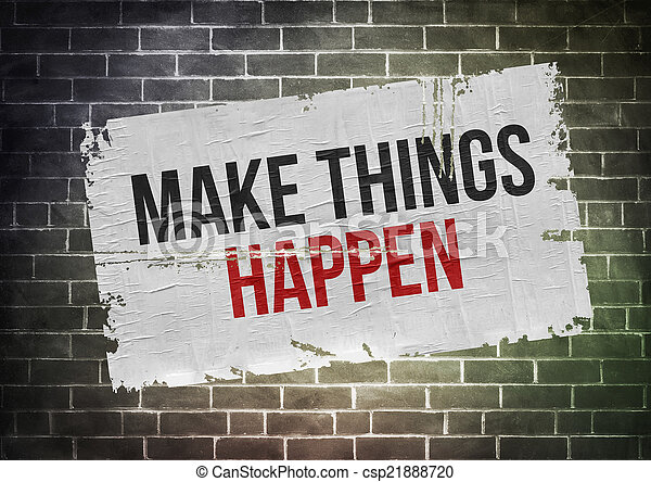 Hacer que las cosas sucedan - el concepto de poster - csp21888720