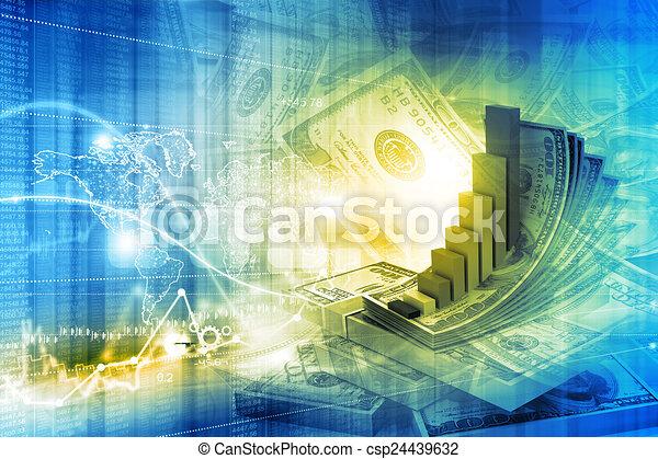 Ilustración digital del concepto de crecimiento financiero - csp24439632