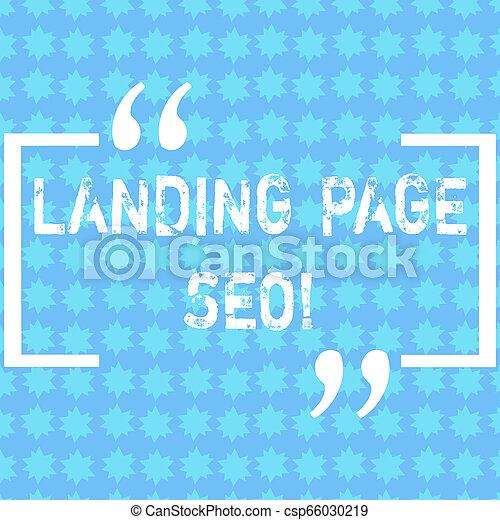 Escribiendo palabras en la página de aterrizaje. El concepto de negocios para la web que el visitante llega después de conectar motores de búsqueda de las Pequeñas Estrellas en una foto de Patrón Sin Fin de Invitación. - csp66030219