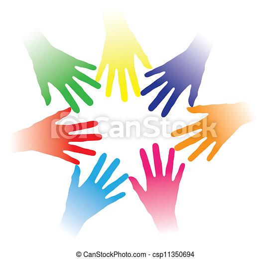 Concepto ilustración de manos coloridas mantenidas juntas indicando red social, espíritu de equipo, gente unida, grupo multirracial de personas, asociación, ayuda mutua, comunidad de personas, etc. - csp11350694