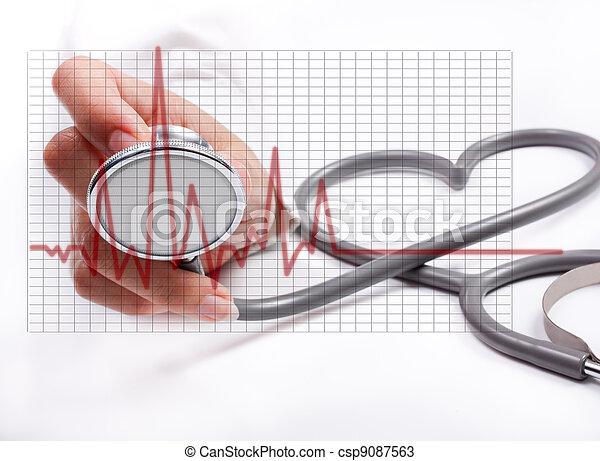 Mano de mujer sosteniendo estetoscopio, concepto de salud - csp9087563