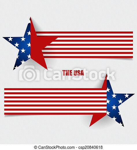 Bandera americana, diseño de banderas. Ilustración de vectores. - csp20840618